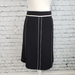 Ann Taylor Black and White Piping Pencil Skirt